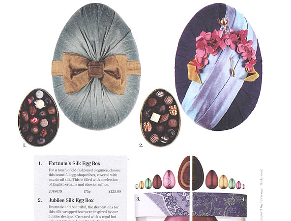 Fortnum & Mason Queen's Diamond Jubilee & Fortnum's Silk Egg Chocolate Boxes Easter Catalogue Feature