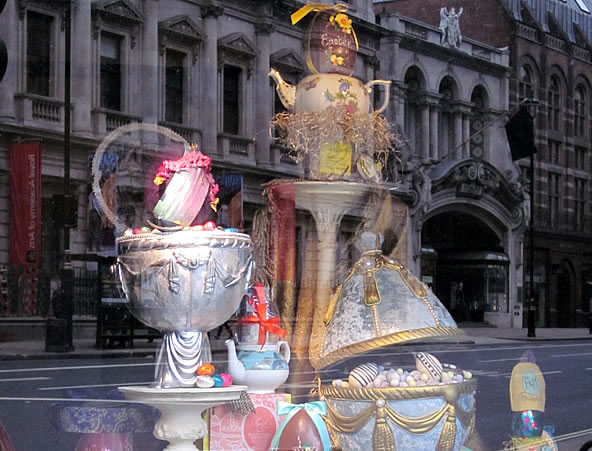 Fortnum & Mason Easter Queen's Diamond Jubilee Silk Egg Chocolate Box Themed Window Display
