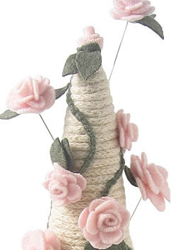 Rose Vine French Knitted Jewellery Cone