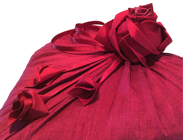 Handmade Silk Origami Roses, Rose Buds & Satin Ribbon Decorative Embellishment