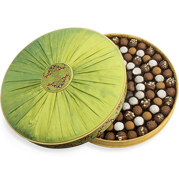 Charbonnel et Walker Sea Salt Caramel Gold & Lime Green Shot Silk Chocolate Box Packed With Fine Chocolates